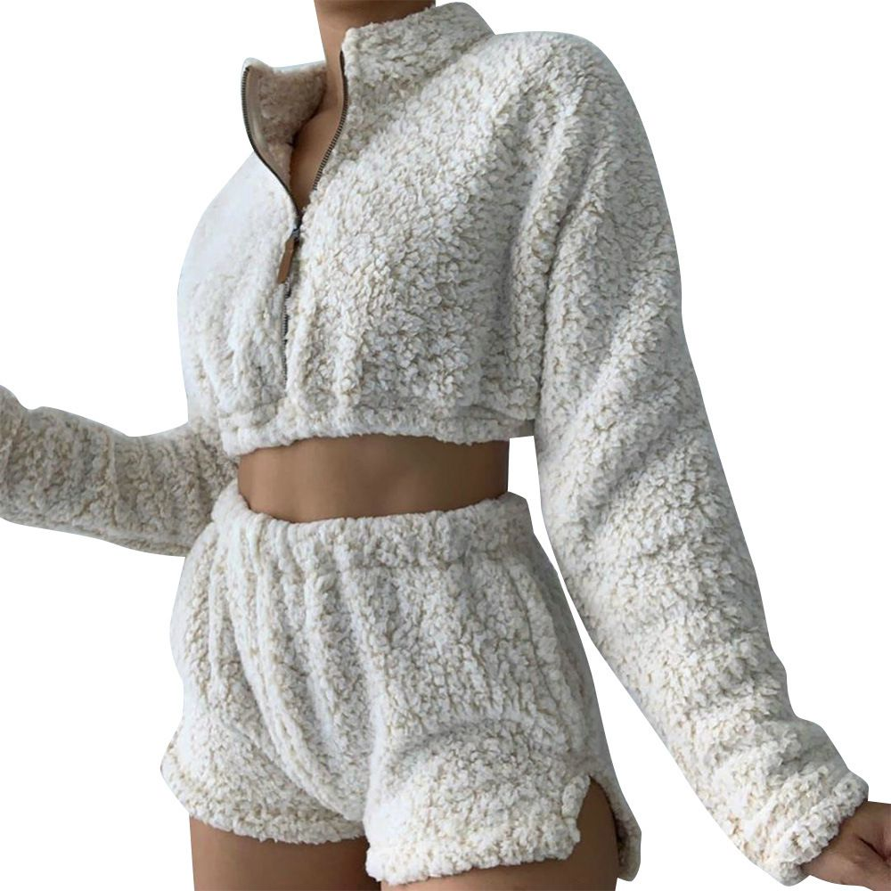 Fuzzy Cropped Faux Fur Teddy Pullover and Fleece shorts Co ord Set