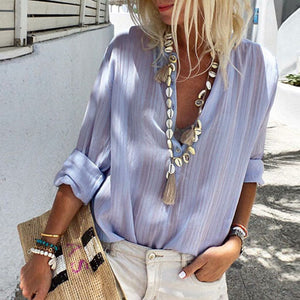 Simple Mesh Striped Half Button Up Womens Shirts