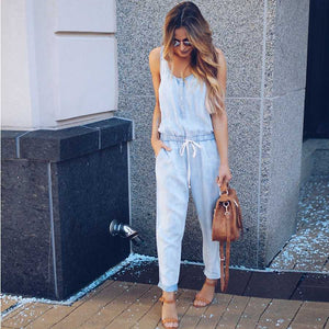 5285177e1de Casual High Waisted Button Up Drawstring Denim Jumpsuit Playsuits ...