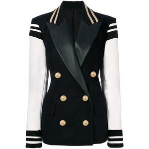 Naval Varsity Stripes Color Block Leather Blazer Jacket