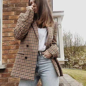 Double Breasted Khaki Lapel Collar Checkered Blazer Suit Womens