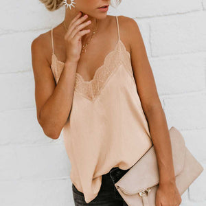 Lace Trimmed V Neck Swing Spaghetti Cami Top