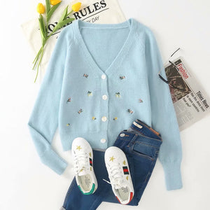 Floral Embroidery Knit Cardigan and Tank Crop Sweater Co ord Set