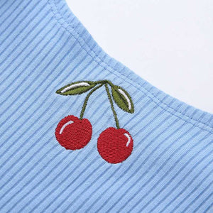 Cherry Embroidered Ribbed Push Up Tight GoingOut Crop Top Tanks