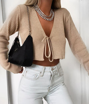 Sexy Ribbed Tie Front Crop Top T Shirt Long Sleeve
