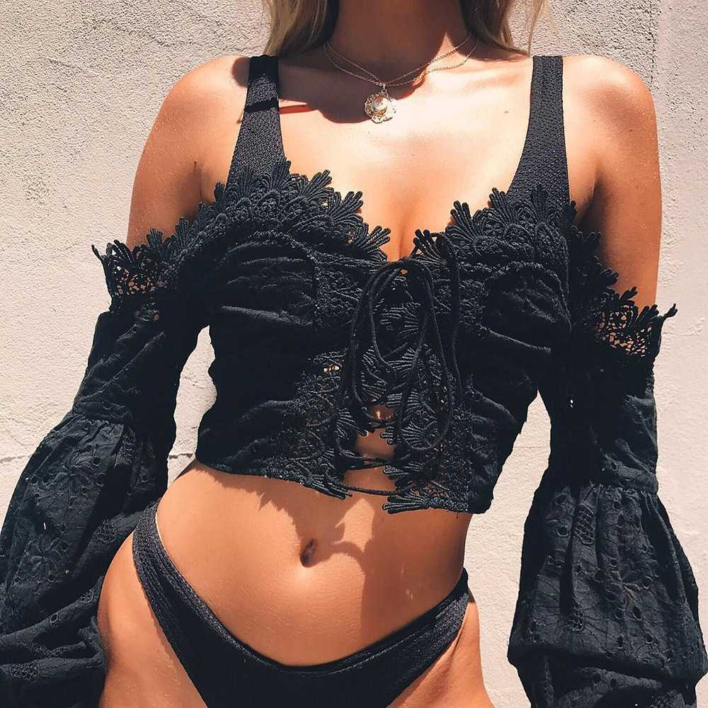 Eyelet Lace Crop Top Off Shoulder Puff Sleeve