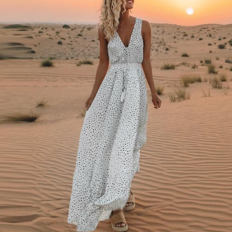 Vintage Plunge Casual Polka Dot Maxi Dress Long