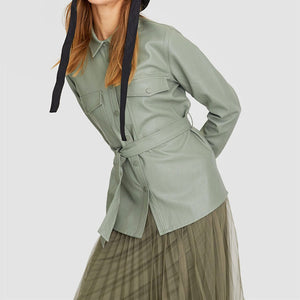 Green Faux Leather Shirt Jacket With Tie Waist Belt