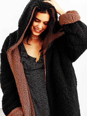 Revers Fuzzy Faux Fur Hooded Long Winter Coat