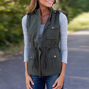 Classic Waist Tie Cotton Vest With Pockets