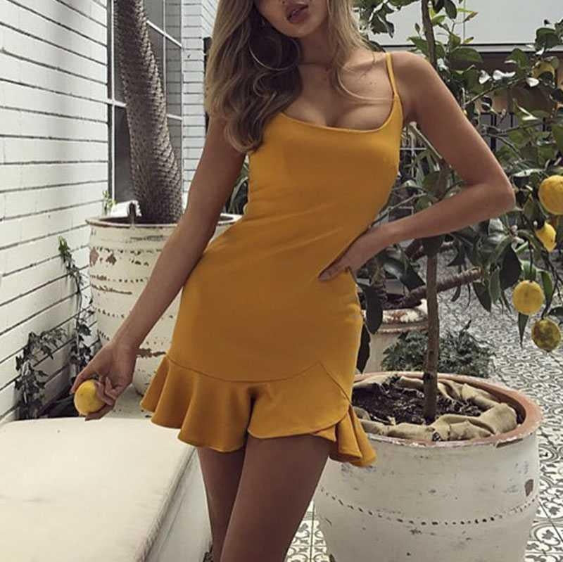 Slimming Adjustable Spaghetti Strap Frill Hem Dress Ruffles