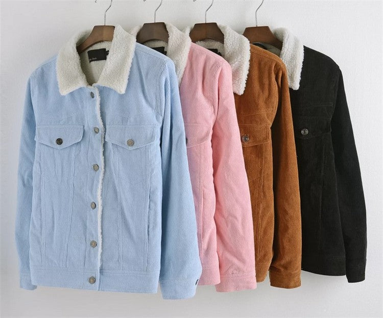 Fur Fleece Lined Shearling Corduroy Trucker Jacket