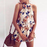 Tie Back Halter Top Floral Prints Two Piece Romper Jumpsuits