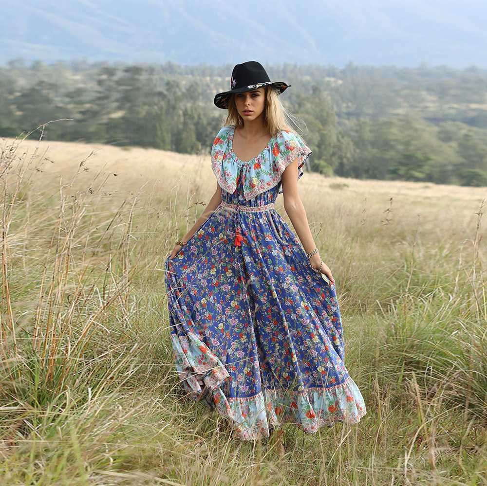 Bohemian Hippie Floral Flounce Off The Shoulder Maxi Dress