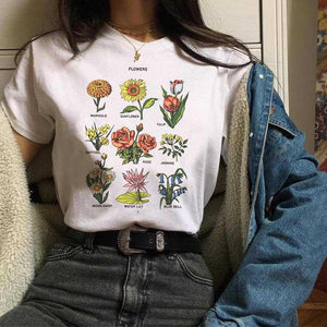 Floral Tropical Cactus Prints Flower Chart Tee Shirts