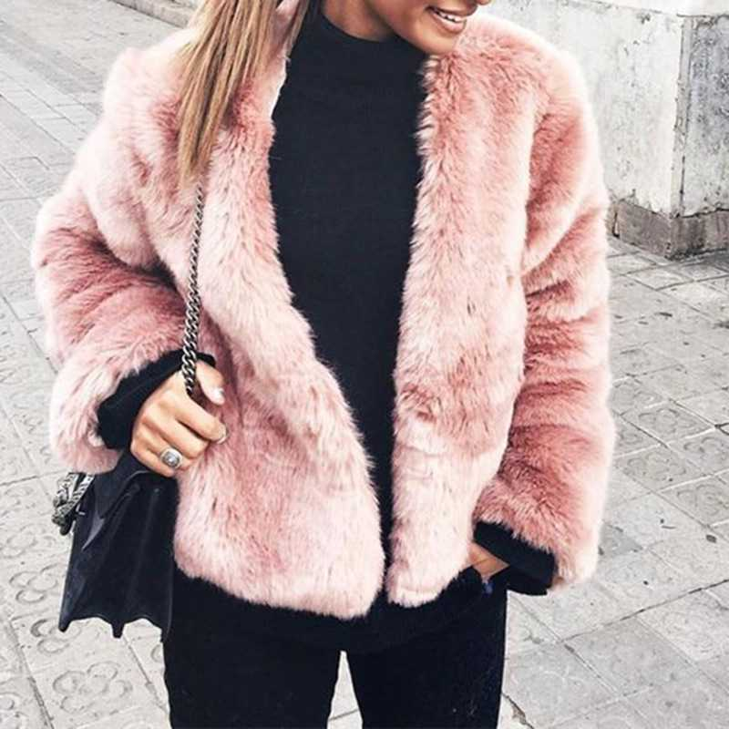 Free Ship Fluffy Mink Pink Faux Fur Coat