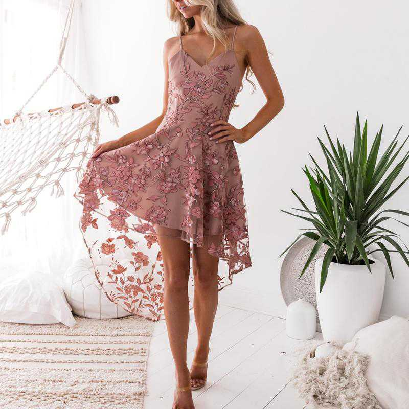 Floral Embroidery Mesh Lace High Low Dress
