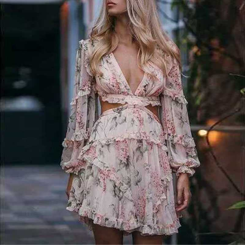 Brand Style Criss Cross Back Floral Ruffle Hem Dress