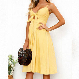 V Neck Front Knot Bow High Waisted Dress Pin Up