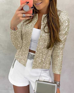 Sparkle Puff Shoulder Gold Sequin Jackets For Women