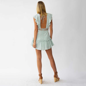Ruffle Top Deep Plunging Eyelet Lace Crochet Frill Hem Dress