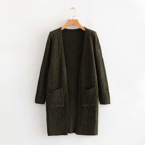Elegant Hollow Out Braided Long Cardigan Sweater Coat