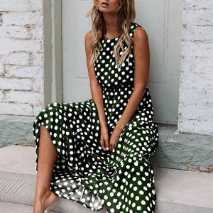 Retro Modest Polka Dot Maxi Dress Sundress