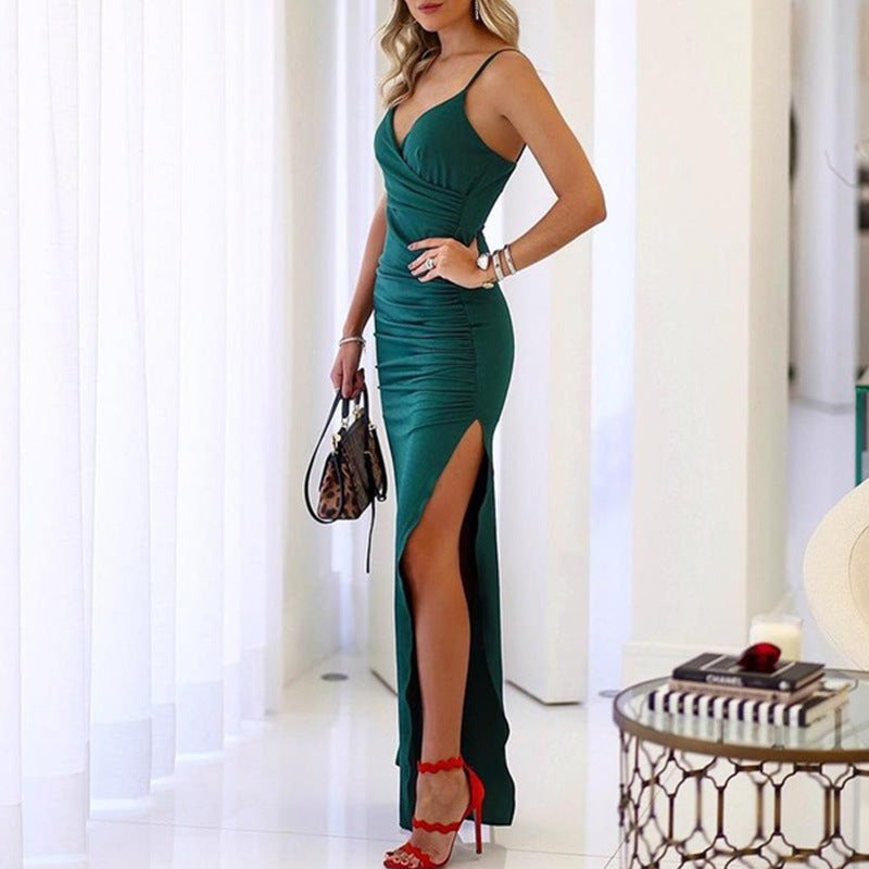 Popular Wrap Front Ruched Thigh High Slit Formal Dress