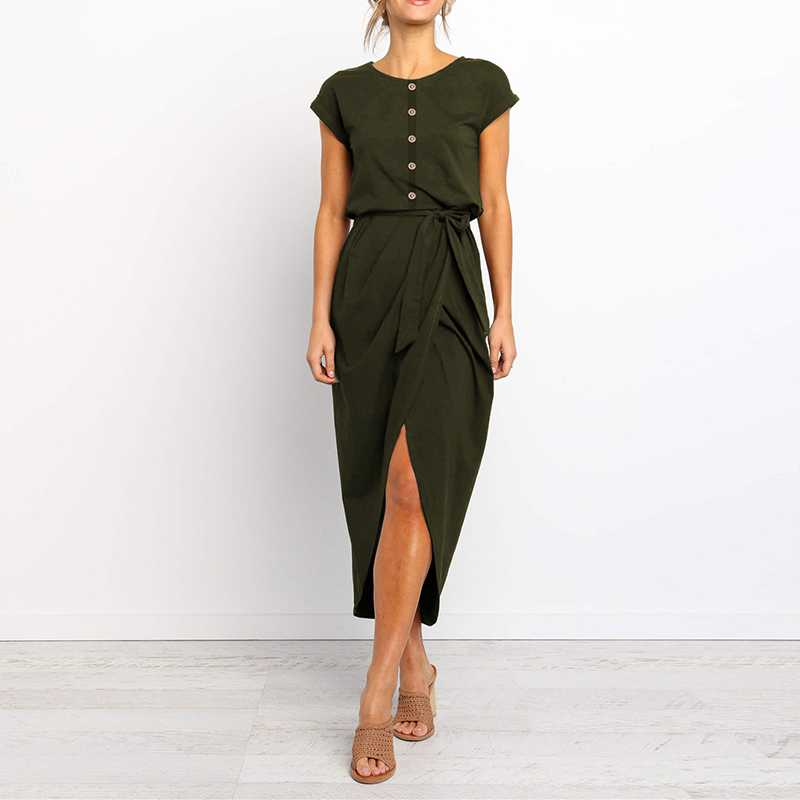 Buttons Short Sleeve Tie Waist Midi Dress With Slit
