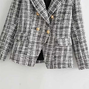 Confident Womens Tweed Blazer And Skirt Suits Plaid