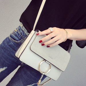 Chic Leather and Suede Shoulder Bag Handbag