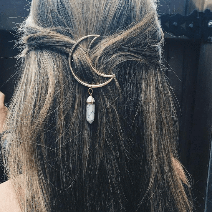Lucky Moon Quartz Stone hair clip Stone Pendent Hairpin