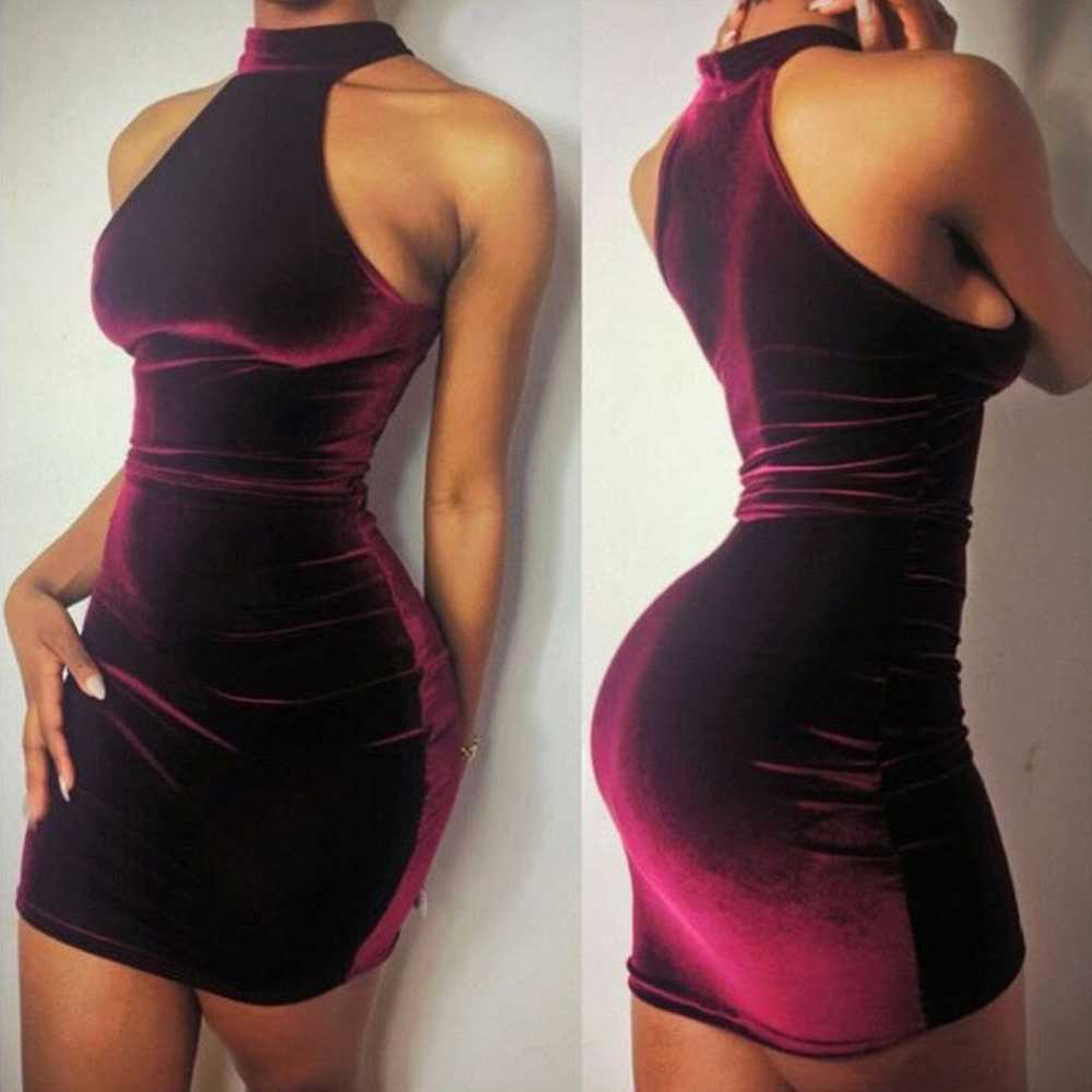 Halter Neck Velvet Minis Bodycon Cocktail Dress