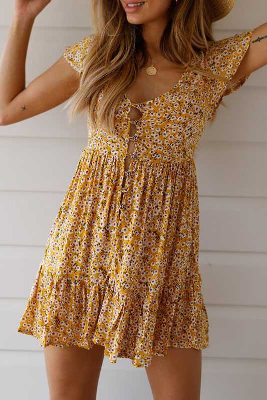 Cute Ditsy Floral Prints V Neck Button Through Mini Dress