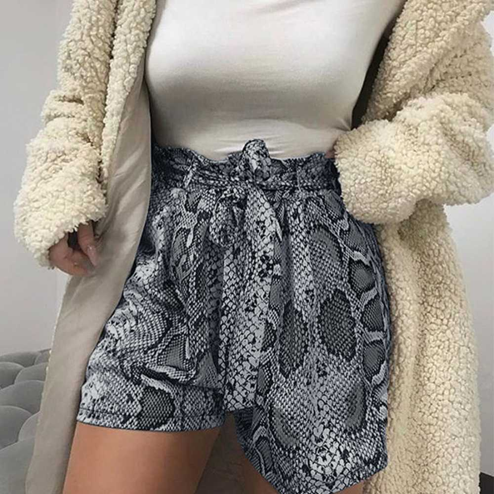 Retro Tie Waist Snake Print High Waisted Paperbag Shorts