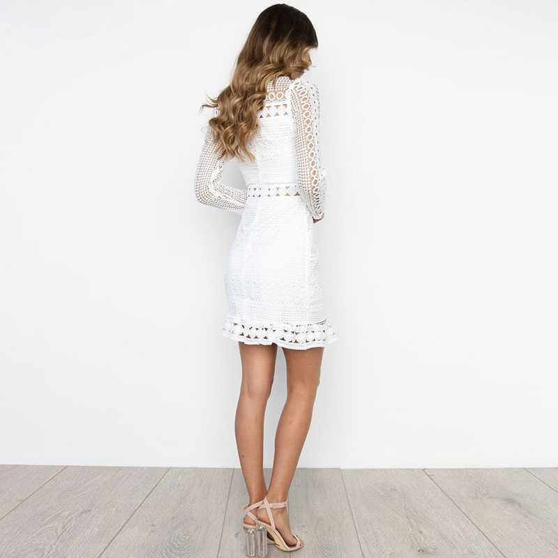 Bohemian long sleeve turtle neck white lace dress