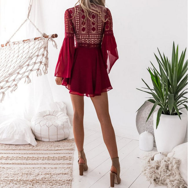 Bohemian Mesh Hollow Out Front Lace Up Bodycon Dress