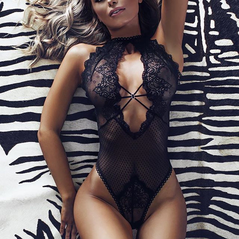 Sexy Strappy Dotted Floral Sheer Mesh Black Lace Lingerie