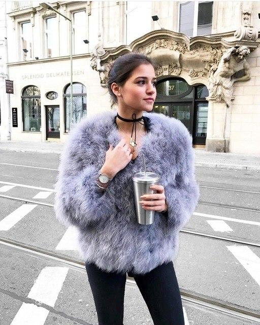 Classy Womens Furry Genuine Ostrich Feather Fur Coats Online