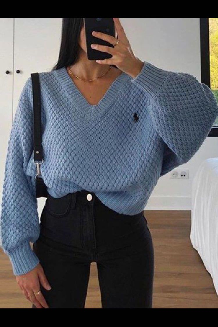 Chunky V Neck Waffle Knit Jumper Sweater For Ladies