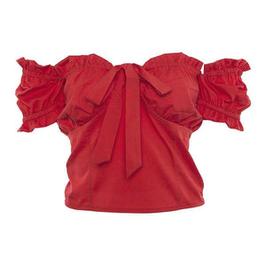 Tie Front Bustier Short Sleeve Ruffle Blouse Shirt