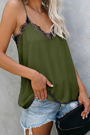 Swing lace trim cami shirts for womens tank top