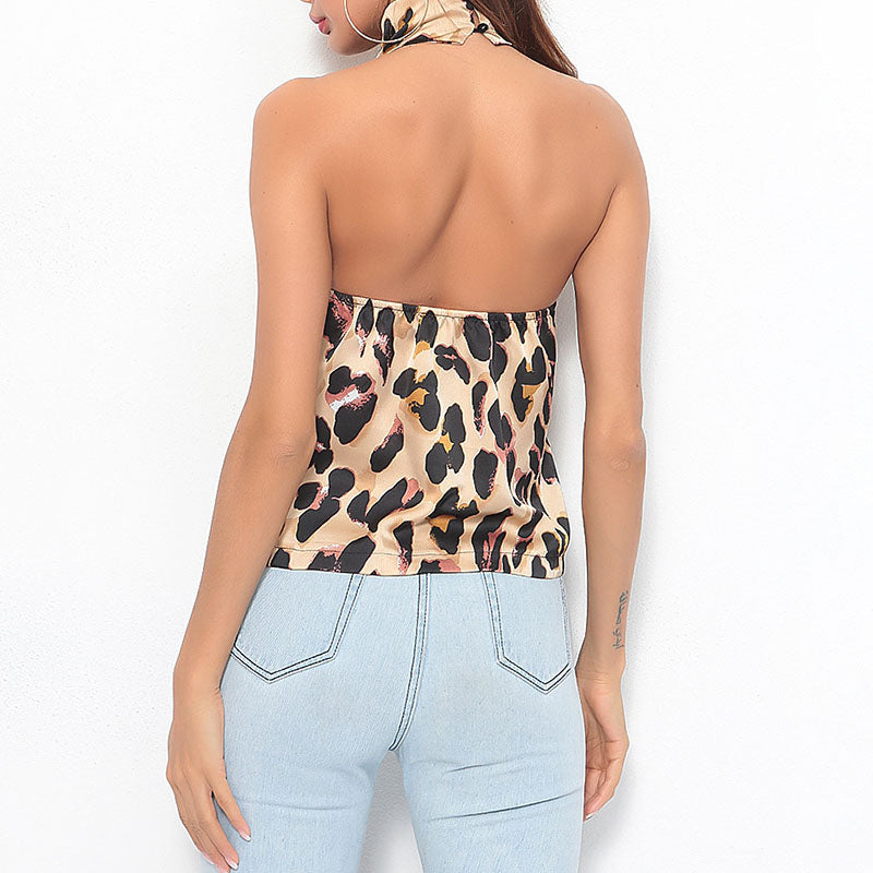 Leopard Halter Neck Tank Top Open Back Sleeveless Shirt