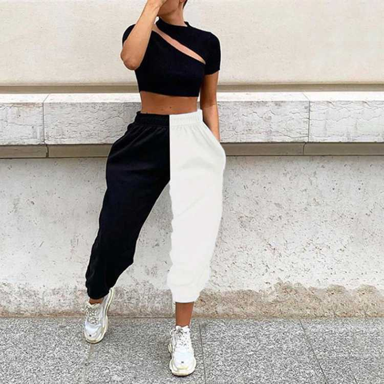 Popular Hip Hop Color Block Joggers Pants