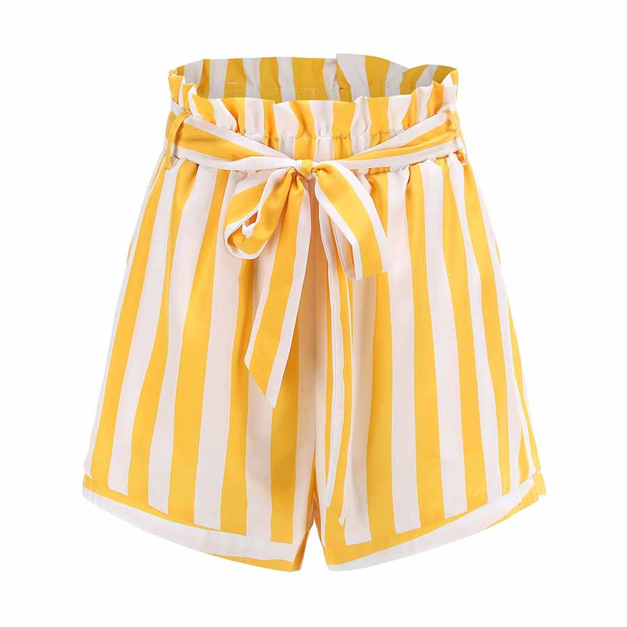 Striped High Waisted Paper bag Shorts Women's