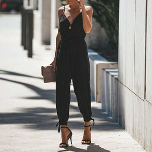 Spaghettie Strap Wrap Front Tie High Leg Split Jumpsuit