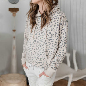 Oversized Retro Leopard Prints Womens Pullover Hoodies