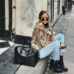 Oversized Fur Coat Winter Faux Fur Leopard Coat