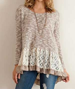 Oversized Lightweight Lace Ruffle Hem Sweater Tunics