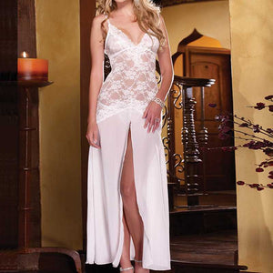 Sexy High Split Mesh Lace lingerie Night Dress